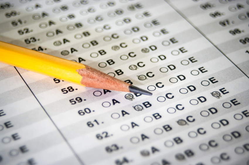 Standardized Test with yellow pencil
